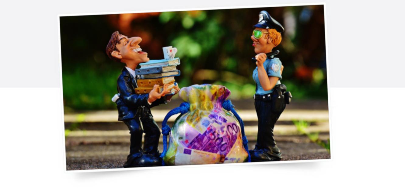Symbolbild mit zwei Figuren zur Steuereintreibung